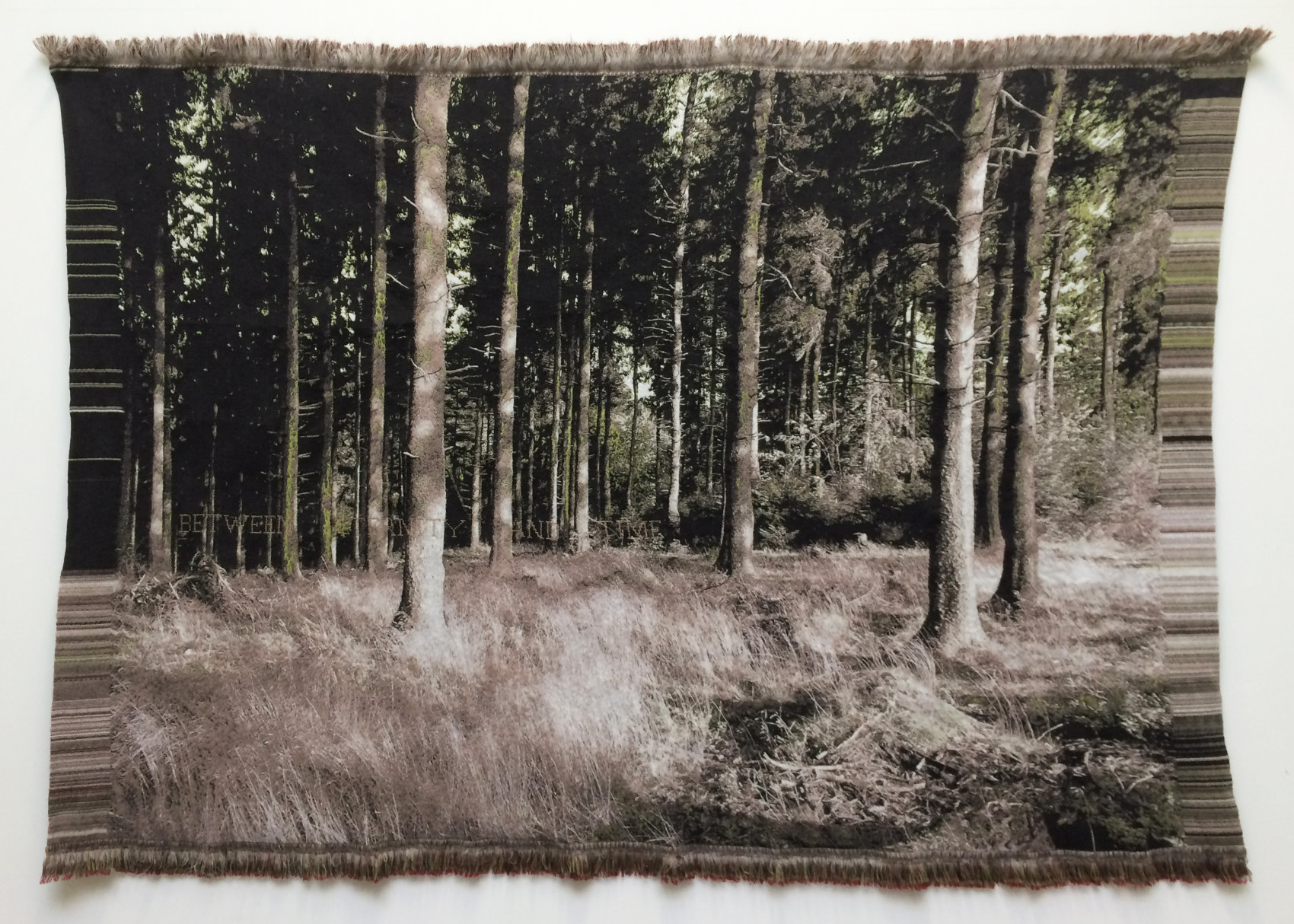 'Between eternity and time' (Emily Dickinson)- Jacquard woven -double weaves- mohair andcashwool -text embroidered by hand- 170 x 238 cm - 2015