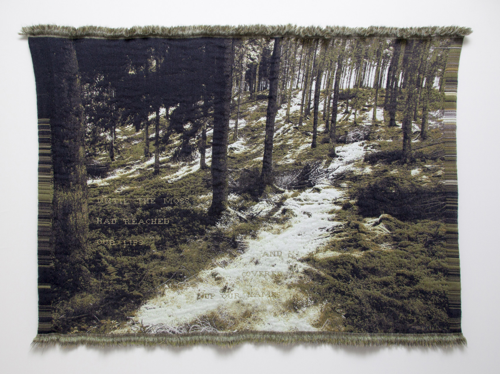 'Until the moss had reached our lips and covered up our names'(Emily Dickinson)- Jacquard woven -double weaves- mohair andcashwool -text embroideredby hand - 165 x 235 cm - 2015
