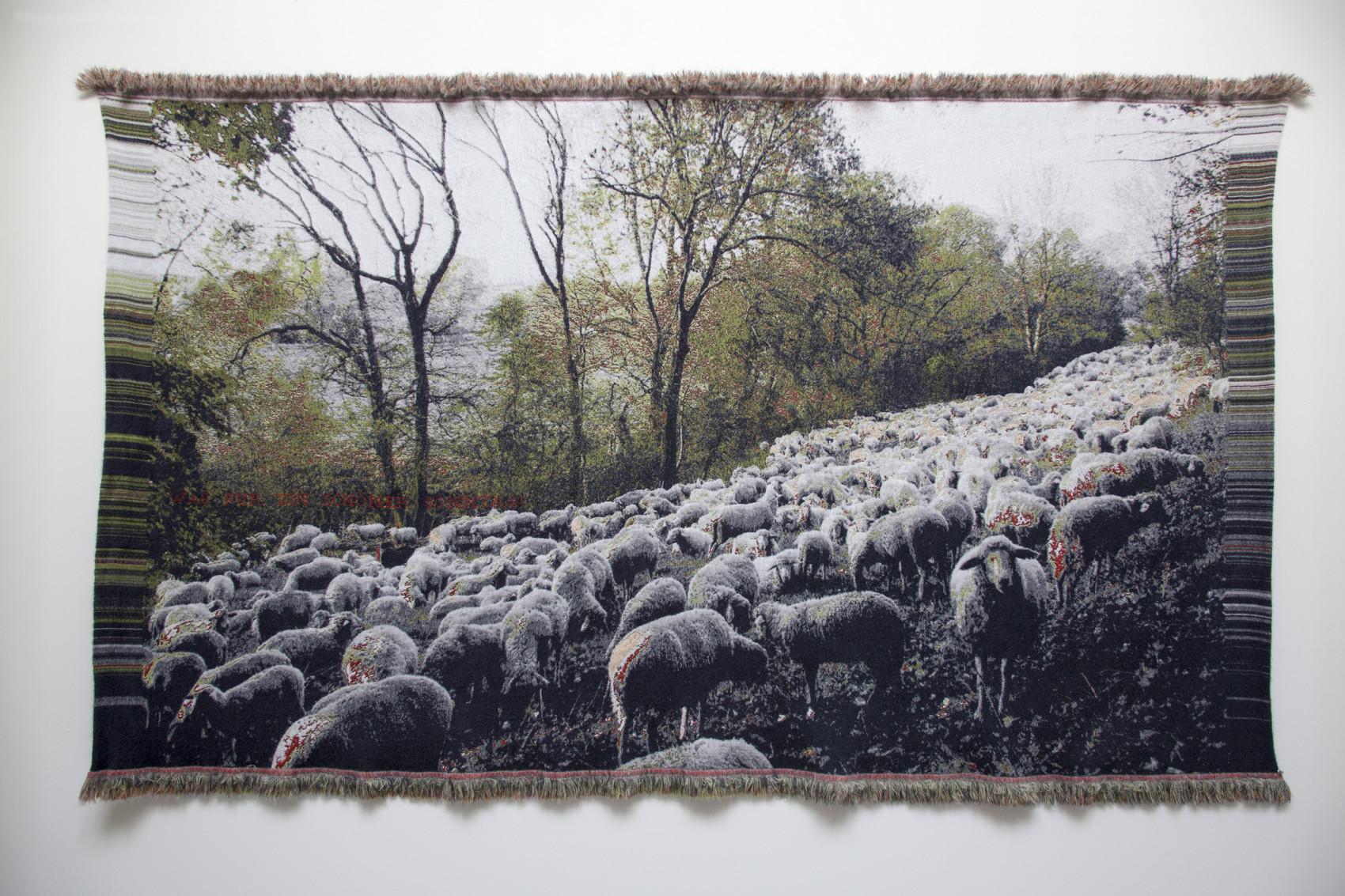 'Was für ein schöner Sonntag' - (booktitle ofJorge Semprún) - Weimar, Buchenwald- Jacquard woven -double weaves- mohair andcashwool -text embroidered by hand - 170 x 290 cm - 2015
