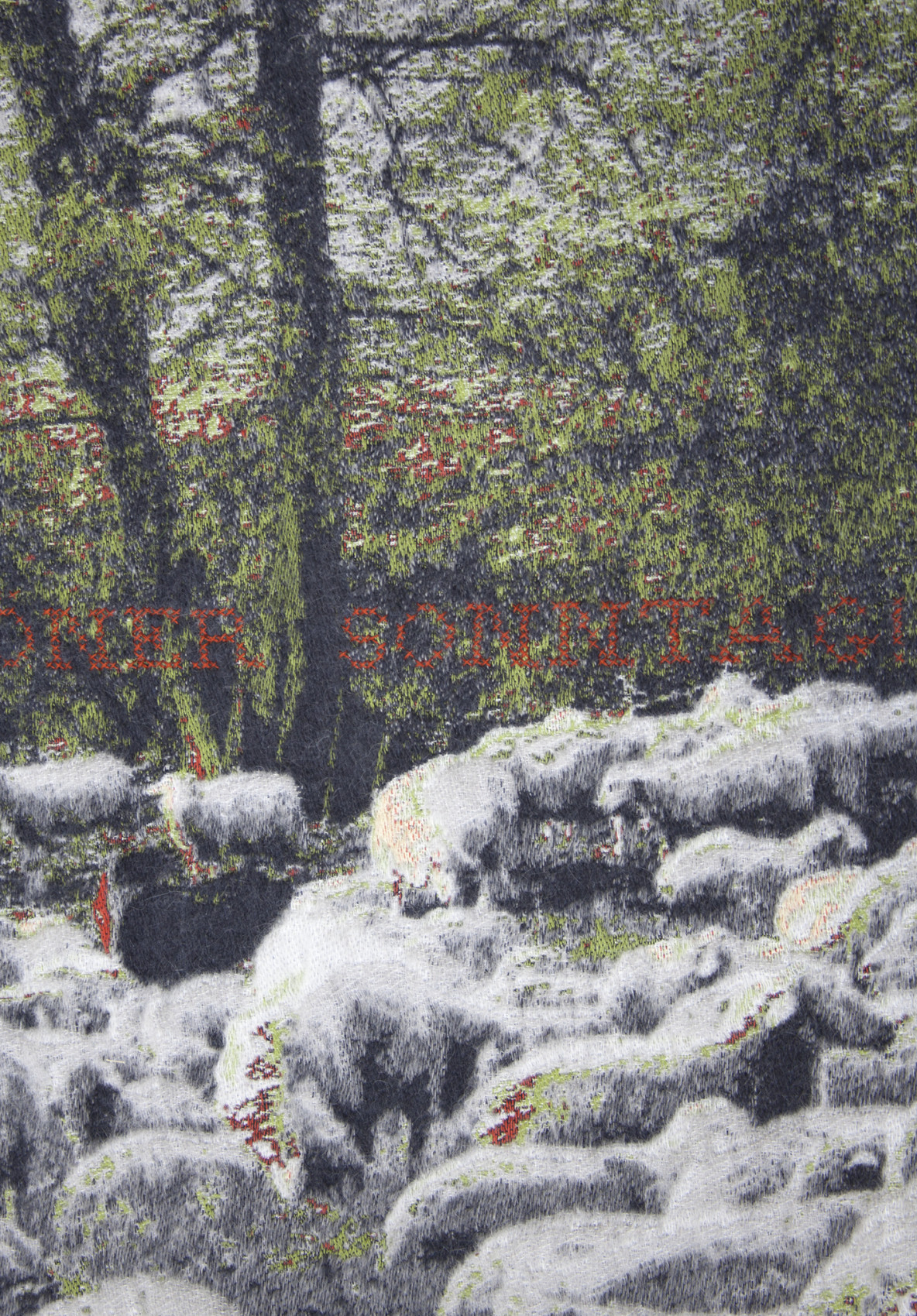 Detail 'Was für ein schöner Sonntag' - (booktitle of Jorge Semprún) - Weimar, Buchenwald - Jacquard woven - double weaves - mohair and cashwool - text embroidered by hand - 170 x 290 cm - 2015