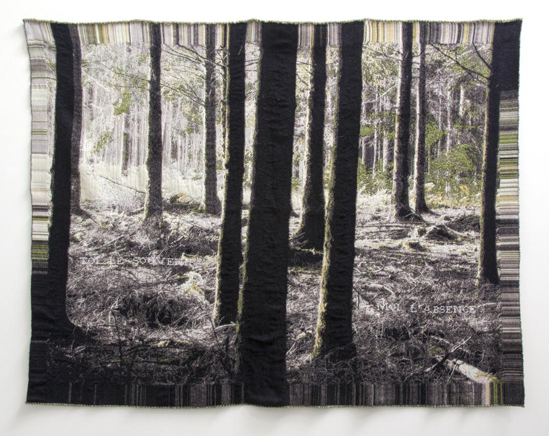'Toi le souvenir, moi l'absence' (Paul Verlaine) - Vivy, Belgium- Jacquard woven - double weaves - mohair and cashwool -text embroideredby hand - 160 x 190 cm - 2015