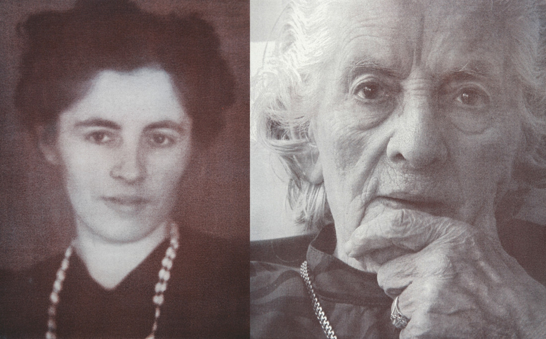 Mrs Jansen * 02 - 02 - 1905  † 11 - 12 - 2007On the left 26 years old, on the right 100 years oldFormer occupation: Shopkeeper men's shop