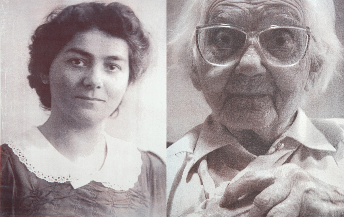 Mrs Onzenoort * 15 - 05 - 1902  † 17 - 11 - 2008On the left 26 years old, on the right 105 years oldFormer occupation: Tobacco shop assitant