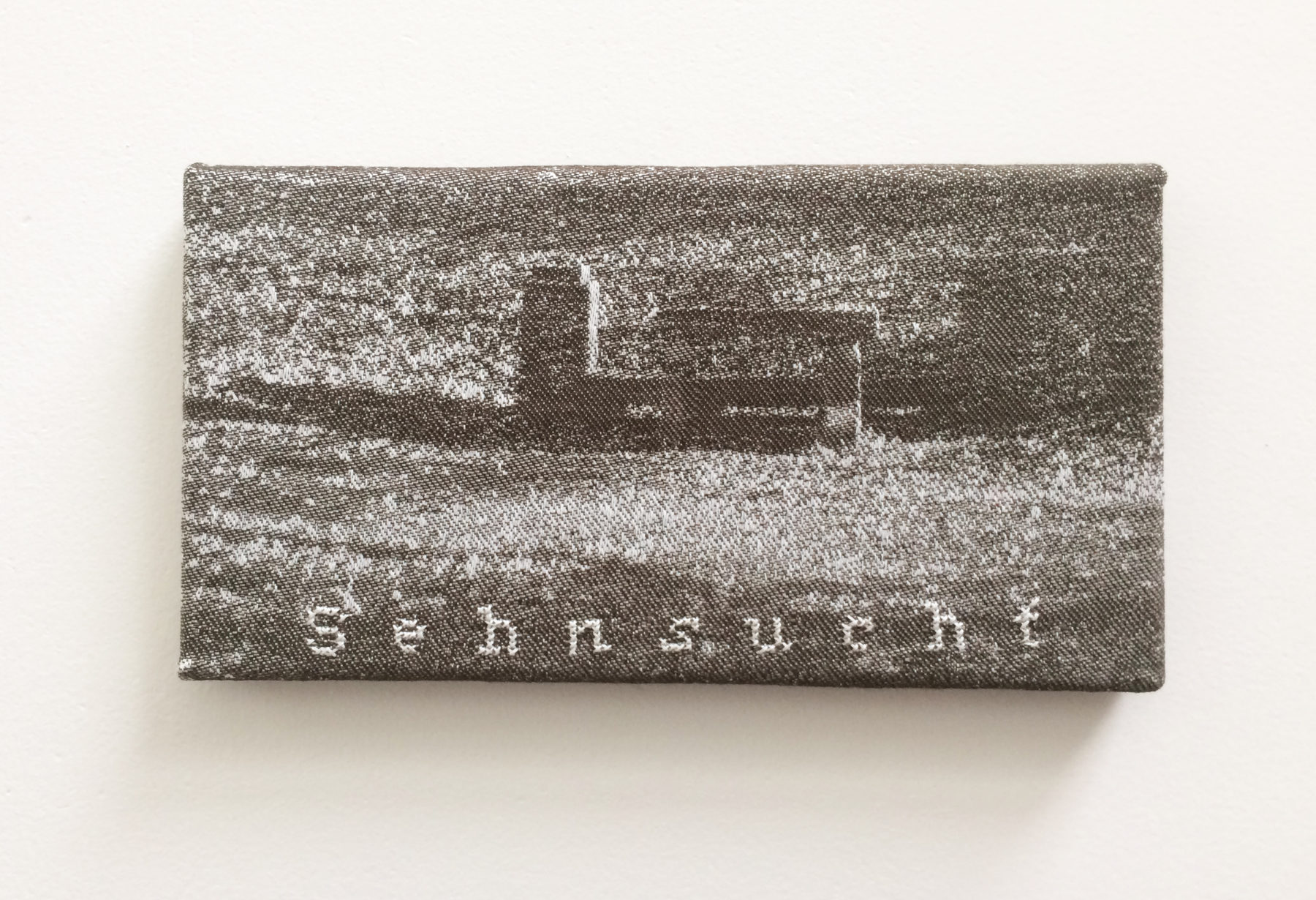 'Sehnsucht' - (Goethe)- Jacquard woven - single weaves - cotton -text embroideredby hand - 13 x 20 cm - 2015