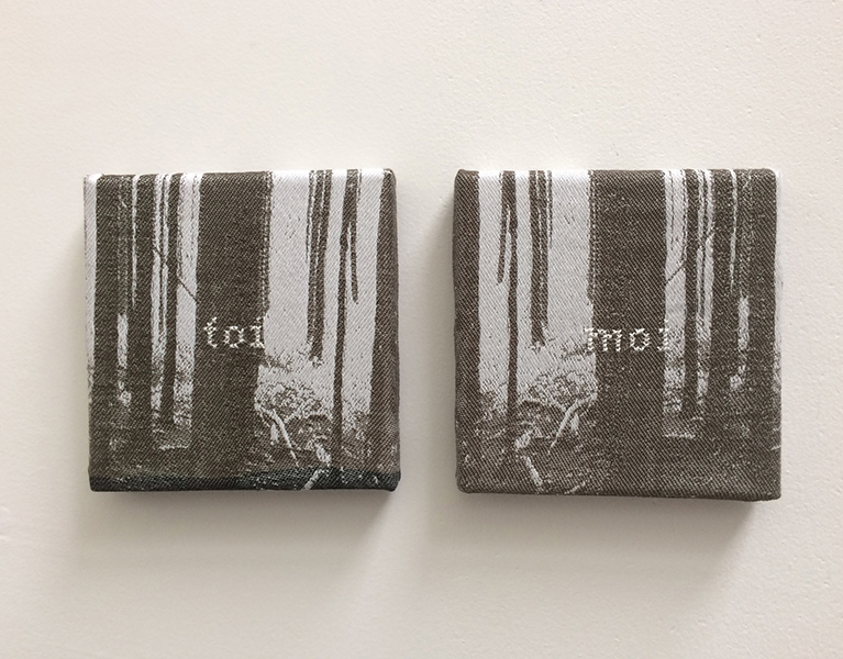 'Toi - Moi'-- Jacquard woven - single weaves - cotton - text embroidered by hand - 2 x 15 x 15 cm - 2016